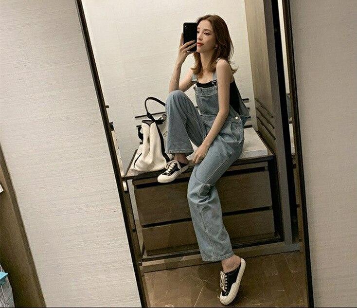 Harajuku Wide Leg Women's Jeans Plus Size 2020 Loose Woman Overalls Jeans Jumpsuit Autumn Fashion Blue Rompers Female Jeans 3
