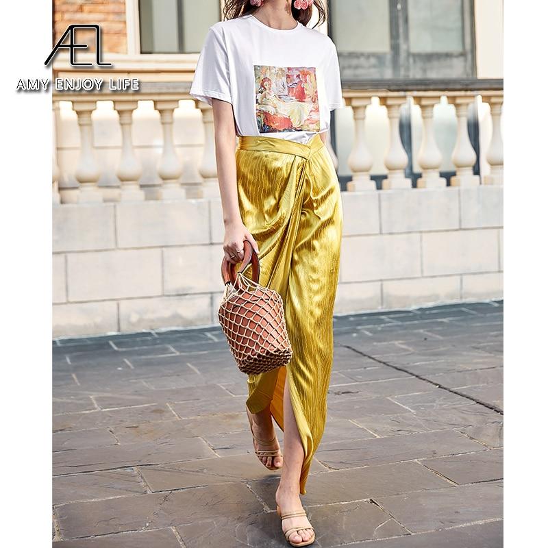 AEL Asymmetric High Split Skirt Woman Retro Long Satin Skirt Wrap Hip 2020 Summer Femme Midiskirt Elegant Slim High Waist 2