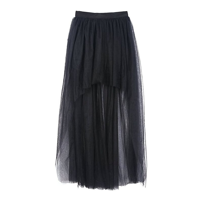 Summer Elegant Gothic Sexy Club Chic Tulle Women Long Skirts Casual Mesh Solid Black Office Lady Goth Female Fashion Maxi Skirt 4
