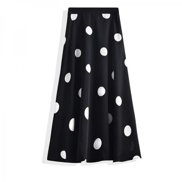 Polka Dot Chiffon A-line Pleated Skirt High