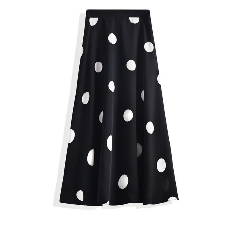 2020 Summer New Women Simple Polka Dot Chiffon A-line Pleated Skirt High Waist Was Thin Casual Women Long Skirt Free Shipping
