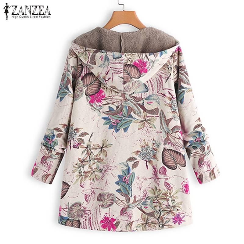 2020 ZANZEA Autumn Winter Warm Print Coat Fur Lining Women's Jackets Female Long Sleeve Hooded Outerwear Zipper Cardigans Tunic 4