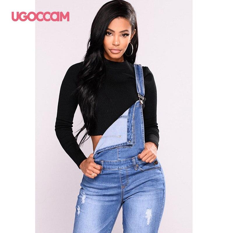 UGOCCAM Women Denim Overalls Jeans Bib Female Plus Size Slimming Denim Stretch Rompers Skinny Jeans Salopette vaqueros 3XL 3