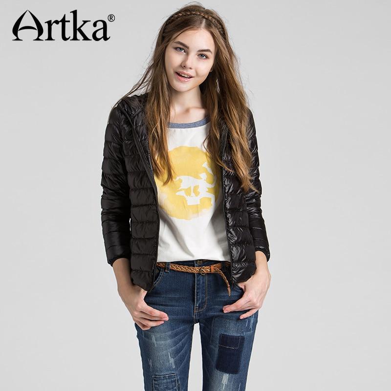 ARTKA 2018 Autumn & Winter Ultra Light Short Women Down Jacket 90% White Duck Down Female Slim Hooded Coat DK11262D 4