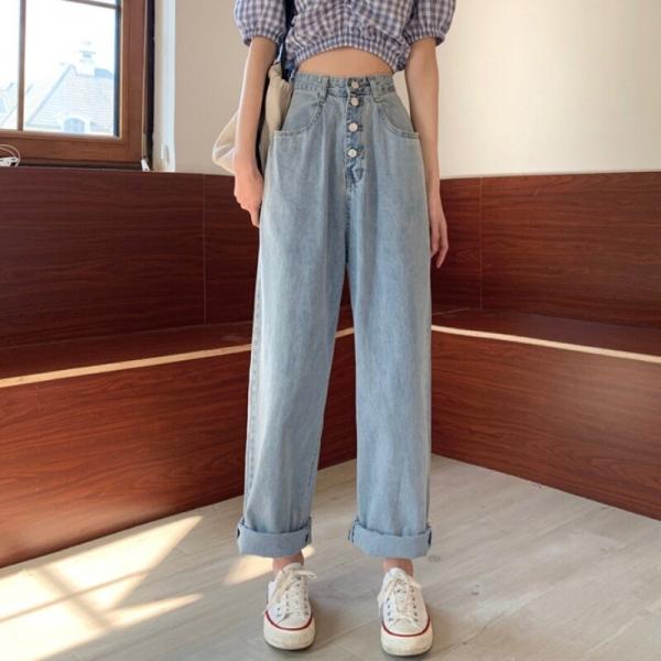Ladies Excessive Waist Straight Denim Pants Denims Free Plus