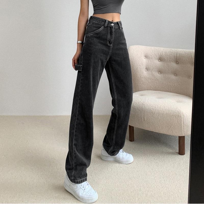 SHENGPALAE 2020 Autumn New Light Blue Washed Retro High Waist Straight Overalls Slim Long Loose Wide Leg Jeans Women ZA512501 3