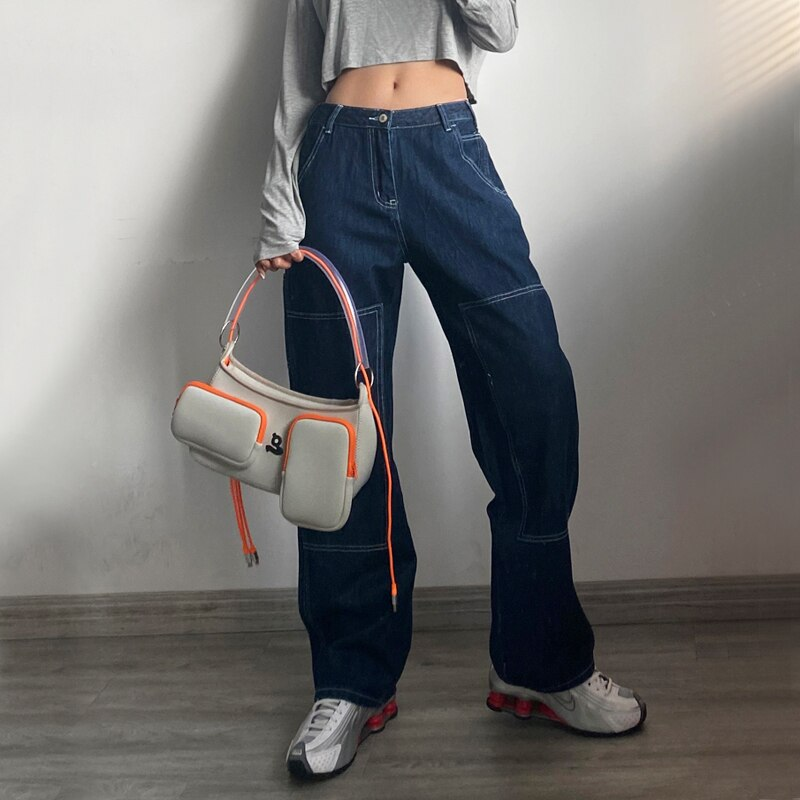 Women High Rise Contrast Stitching Straight Leg Jean Dark Wash Relaxed Fit Denim Pants