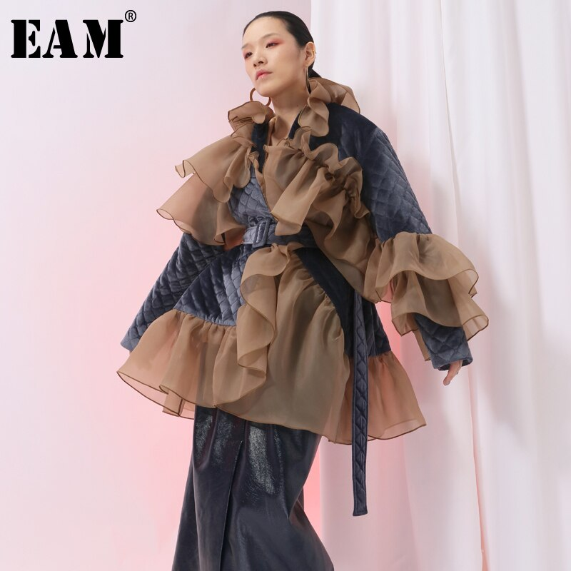 [EAM] 2020 New Spring Ruffles Mesh Stitch Loose Large Size Velour Cotton-padded Coat Women Jacket Fashion Tide JI588 1