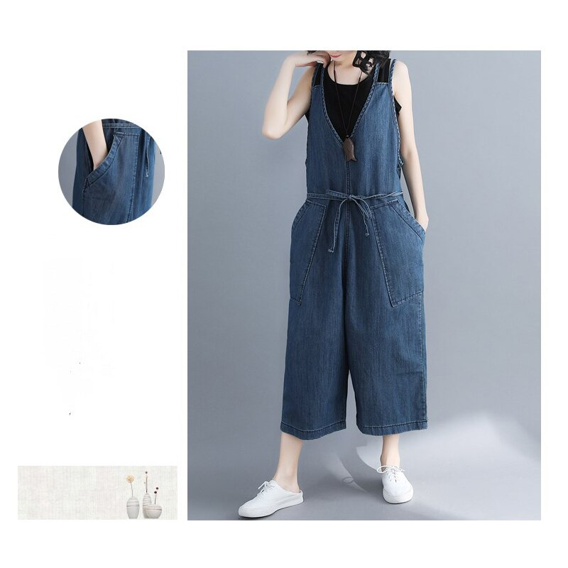 casual Denim Jumpsuit summer Ladies Long Pants rompers women jumpsuit Overalls ripped jeans Strappy Off Shoulder jeans PP-309 2