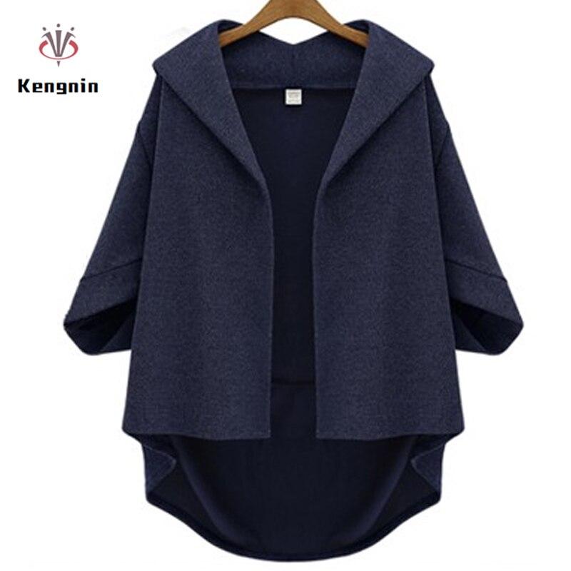 European Style Women Jackets 2019 Autumn Winter Ladies Asymmetrical Outerwear Wool&Blends Bawting Sleeve Coats Plus Size XL- 6XL