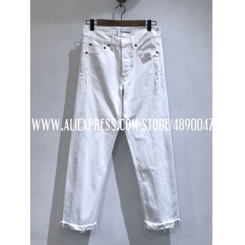 Cotton white jeans woman straight jeans women spring summer High-quality low-rise jeans treetwear crimping trousers 1