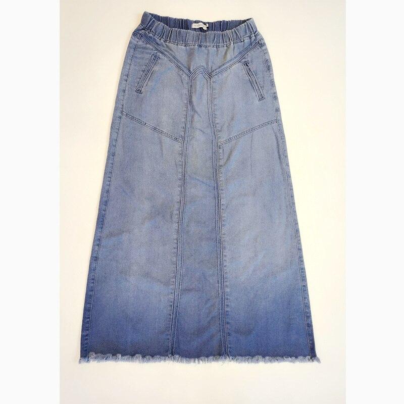 KALENMOS Denim Jeans Women Long Skirt Stretch Vintage Loose Slim Fit Blue Club Streetwear Chic Sexy Harajuku Skirts Plus Size 3