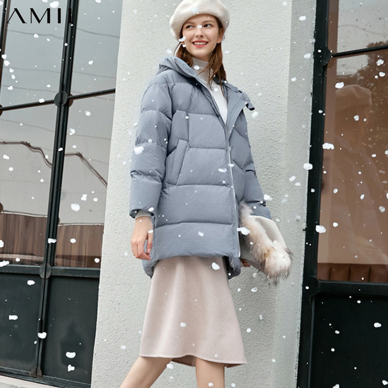 Amii Fashion Women Down Jacket Casual Solid Loose Hooded Zipper Female Thick Down Coat 11930381 2