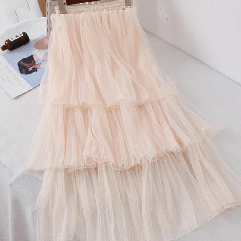 Women Sweet Chiffon Casual Long Skirt Female Preppy Style Students High Waist Skirts Pleated A-line Floor-Length Skirts 4