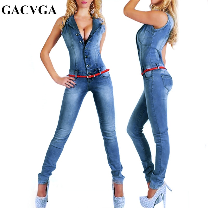 GACVGA New Arrival Sleeveless Jumpsuit Jeans Sexy Bodysuit Women Denim Overalls Rompers Blue Ladies Pants Jeans 1