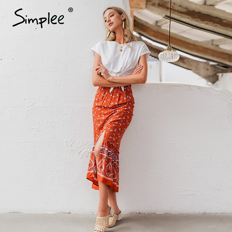 Simplee Bohemian floral print women long skirt Ruffled split A-line female skirts Spring summer holiday beach ladies skirts 2020 1