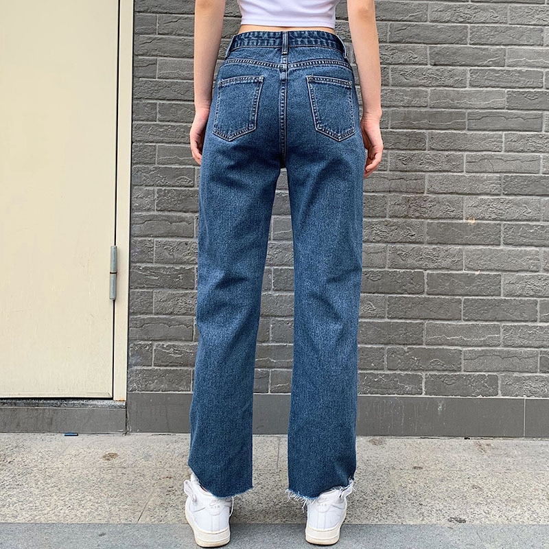 High Waist Women Straight Jeans Butterfly Print Female Denim Pants Boyfriend Summer Palazzo Streetwear Vintage Clothing 2020 4