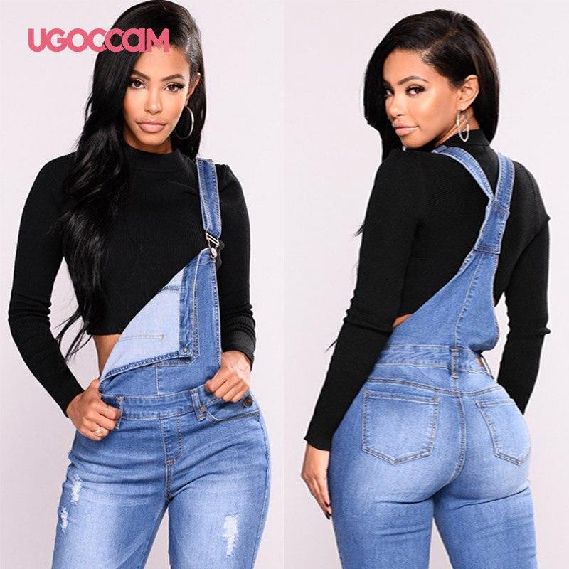 UGOCCAM Women Denim Overalls Jeans Bib Female Plus Size Slimming Denim Stretch Rompers Skinny Jeans Salopette vaqueros 3XL 2
