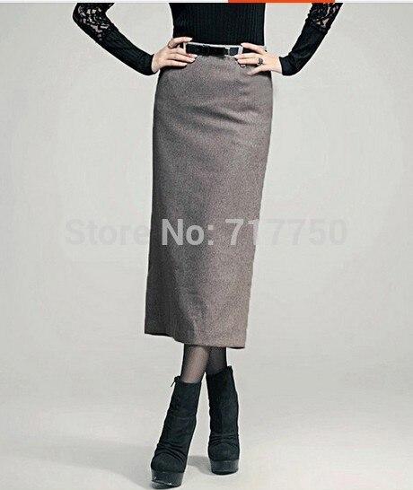 Autumn Winter Skirt Women Long Skirt Thick High Waist Pencil Skirt Ladies Elegant Slim Plus Size Woolen Skirts Women XS – 5XL 1