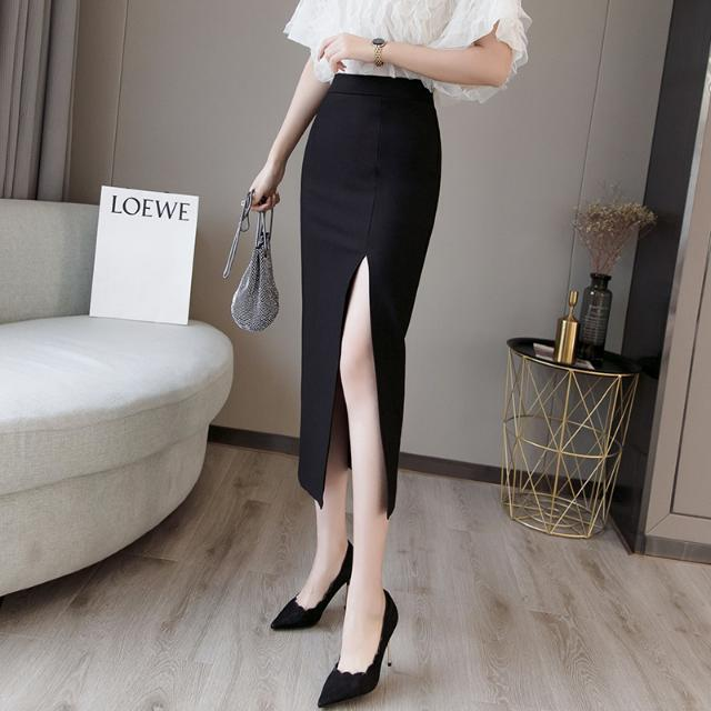 2020 Summer Women Long Skirt Casual Wrap Female Sexy Split High Waist Midi Skirt Office Party Ladies Elegant Plus Size 5XL F22 4