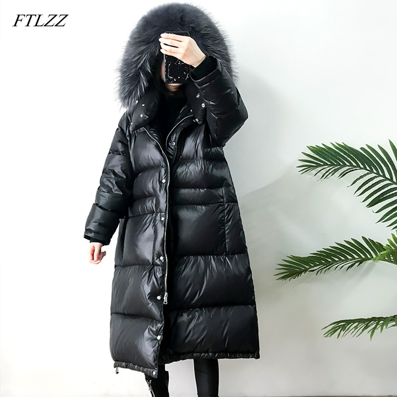 FTLZZ Large Real Natural Raccoon Fur Winter Women Down Jacket Long Thick Warm Coat White Duck Down Jacket Female Oversize 1