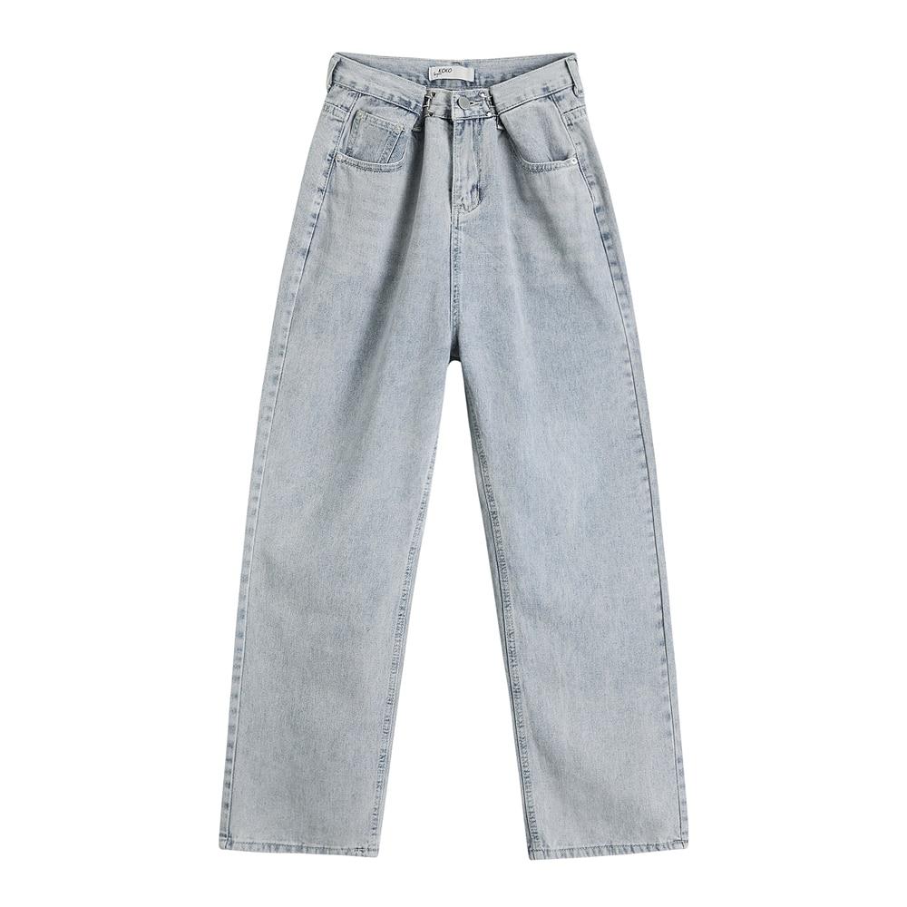 Women Jeans For Women Fashion Straight Loose Boyfriend Chic Full Length High Waist Casual Cotton Jean Female Denim Pants WJ124 2