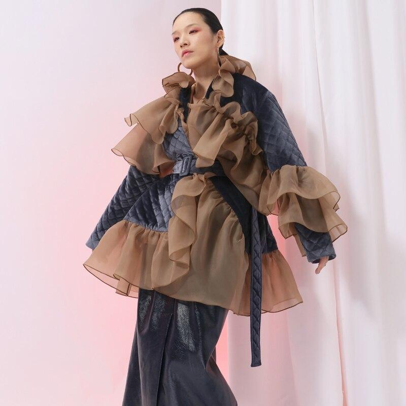 [EAM] 2020 New Spring Ruffles Mesh Stitch Loose Large Size Velour Cotton-padded Coat Women Jacket Fashion Tide JI588 4