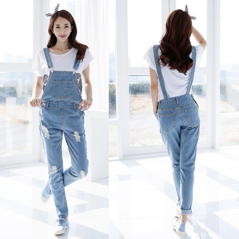 2019 Fall Fashion Brand Style Women Jeans Rompers Macacao Feminino Ripped Jumpsuit denim bib overalls women 4