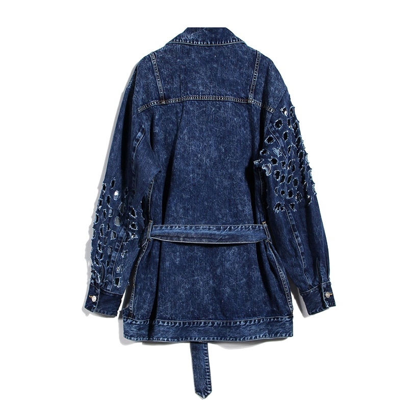 DEAT 2020 NEW autumn and winter full sleeves metal hollow out waist belt denim fashion women jacket female top 2020 1Y917 4