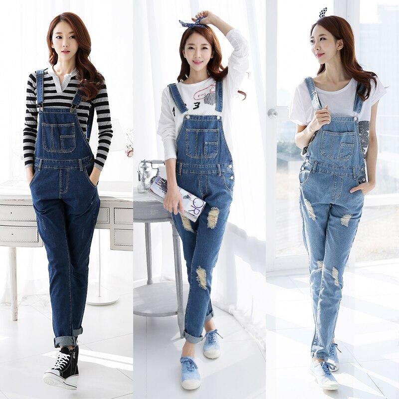2019 Fall Fashion Brand Style Women Jeans Rompers Macacao Feminino Ripped Jumpsuit denim bib overalls women 1