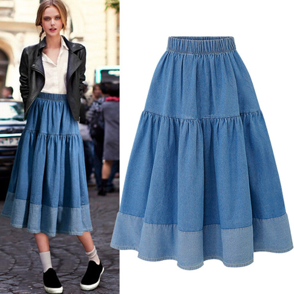 Womail Fashion Women Long Skirts Elastic Waist Pleated Maxi Skirts Beach Boho Vintage Summer High-quality Temperament skirt