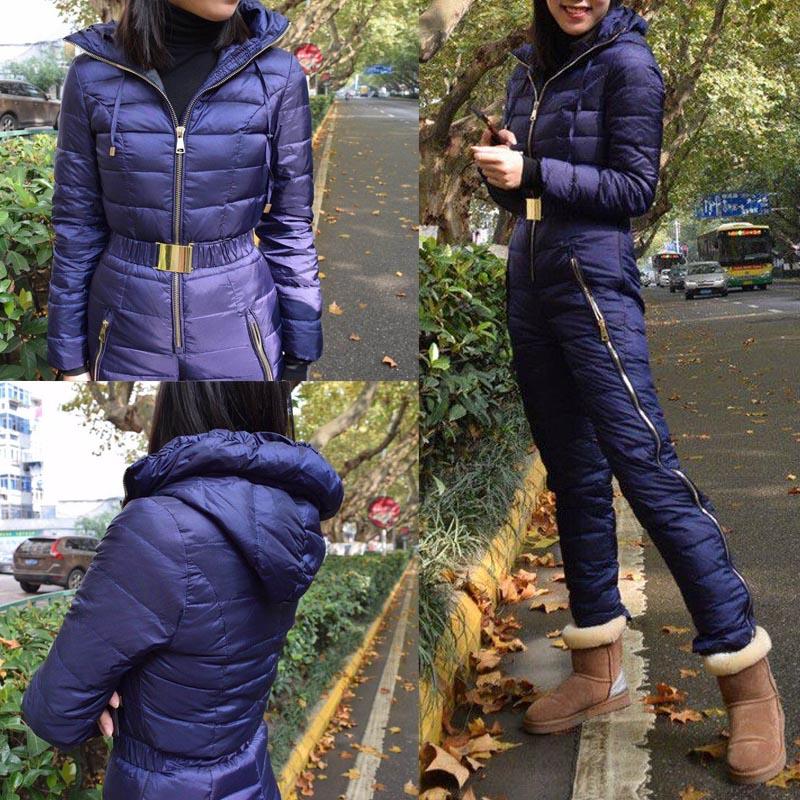 Winter new women's slim fit jumpsuit 90% White Duck down jacket waist thickening warm Slim Elastic outdoor ski women down jacket 3