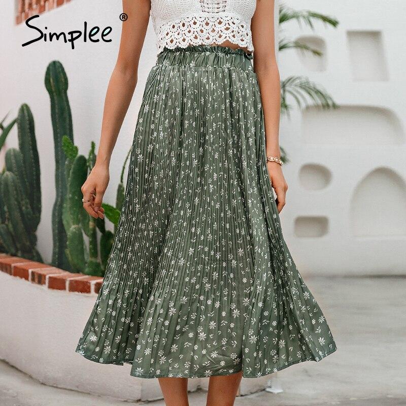Simplee Bohemian ruffled high waist chiffon women long skirt Floral print skirt pleated summer skirt Female lining midi skirt 3