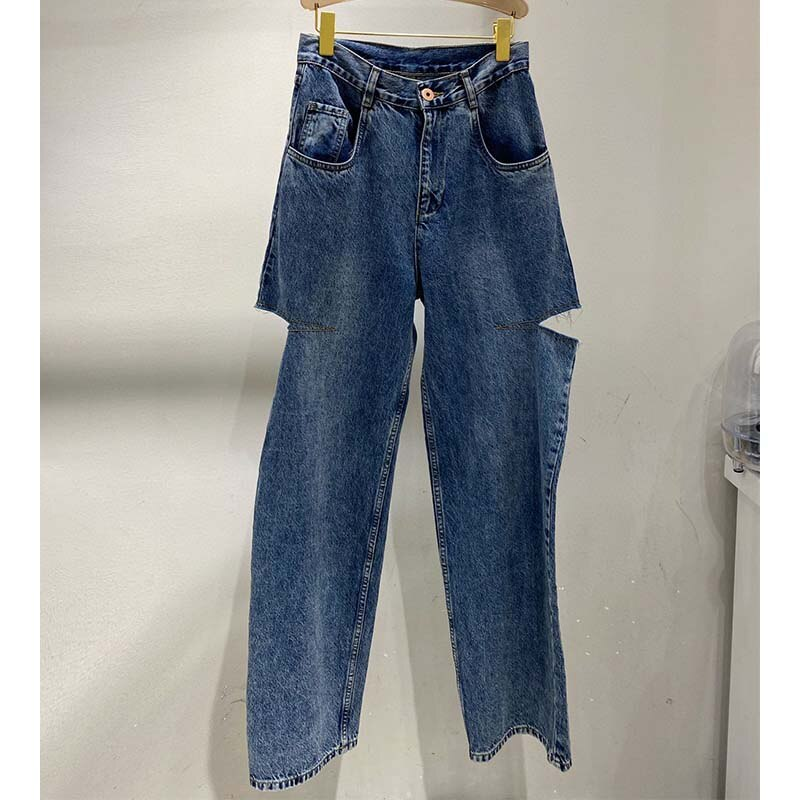 Cosmicchic 2020 Women Straight ripped Jeans Casual Knife Cut Hole Loose Pants High Waist Street Retro Denim Trousers Female 2