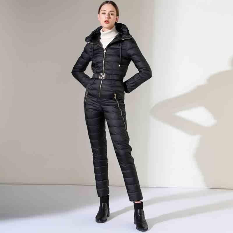 Winter New Women's Slim Fit Jumpsuit 90% White Duck Down Jacket Waist Thickening Warm Slim Elastic Outdoor Ski Women Down Jacket 4