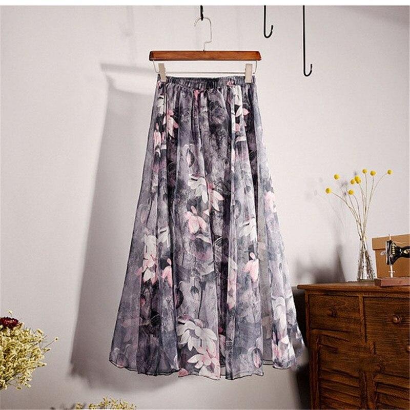 Elegant Summer Bohemian Maxi Skirts Women Long Skirt Chiffon Saia Beach High Waist Tutu Casual Vestidos Harajuku Print Clothes 3