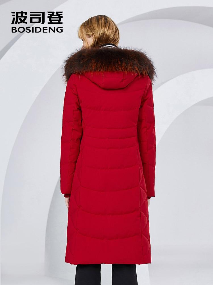 BOSIDENG X-Long winter coat women down jacket 90% duck down thicken outwear natural fur raccoon fur waterproof B80141046 3