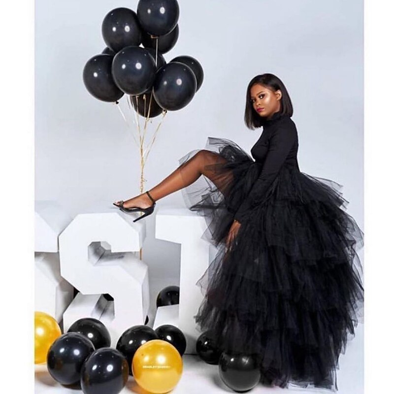 Chic Black Puffy Hi Low Tutu Party Skirt 2020 High Low Tulle Skirt Layered Women Long Skirt for Prom Custom Made