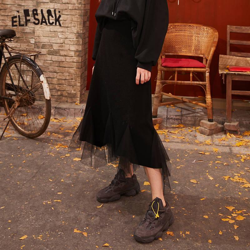 ELFSACK Black Solid Contrast Mesh Casual Women Long Skirts 2020 Spring New Gray Elastic Waist Irregular Hem Female Daily Bottom 1