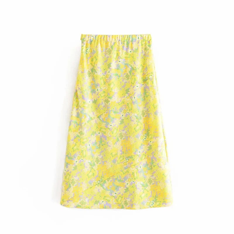 chic lady a-line fashion floral print yellow summer women long skirt 2020 vintage floral print elastic high waist skirts femme 4