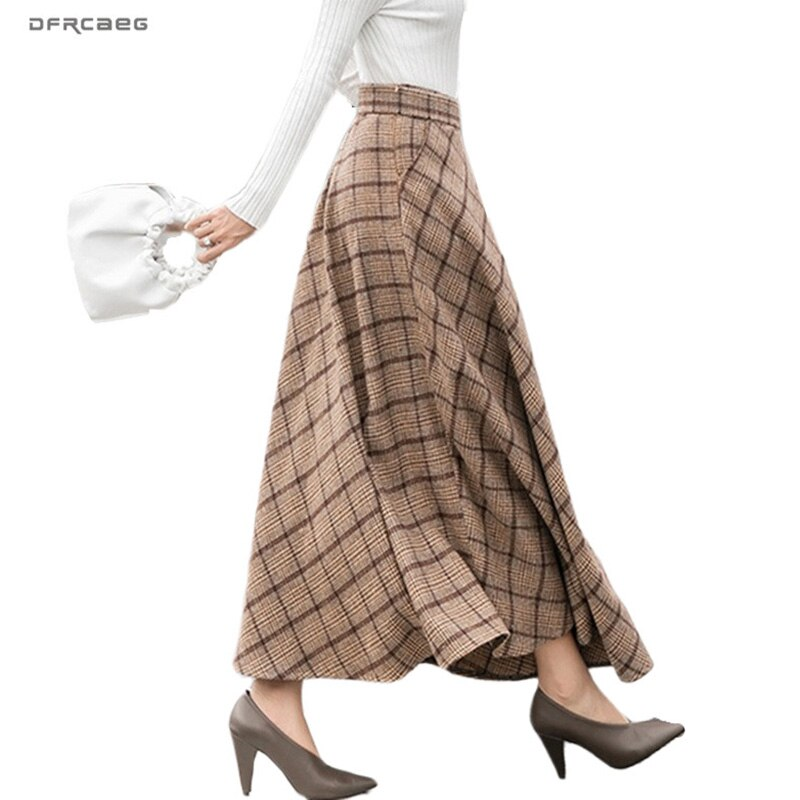 Elegant Plaid Warm Wool Womens Long Skirts Winter High Waist Streetwea Ladies Woolen A-Line Skirt Casual Female Saia Longa