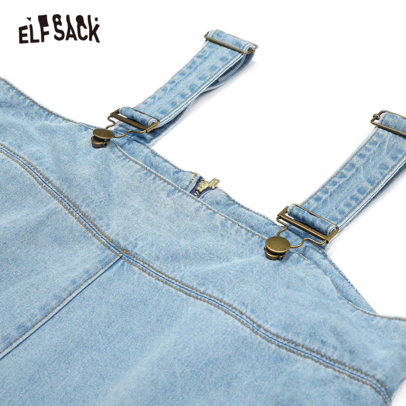 ELFSACK Blue Solid Ripped Hole Straight Casual Women Overall Denim Jeans 2020 Summer ELF Pocket Korean Ladies Daily Jumpsuits 4