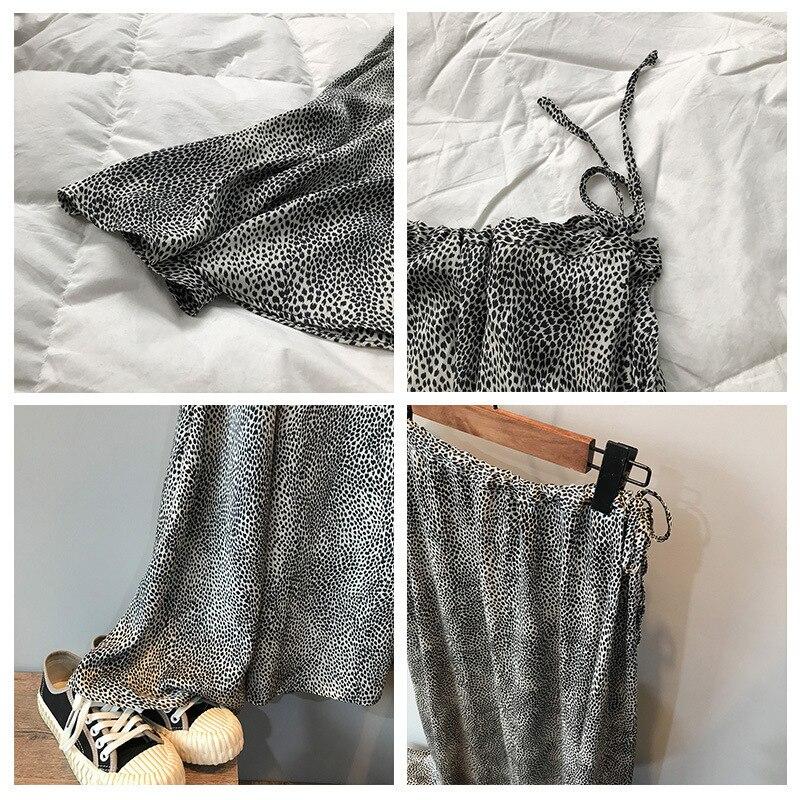 Mooirue Summer 2019 Femme Jupe Retro Gray Leopard Satin Thin High A-line Fit Women Long Skirts 4