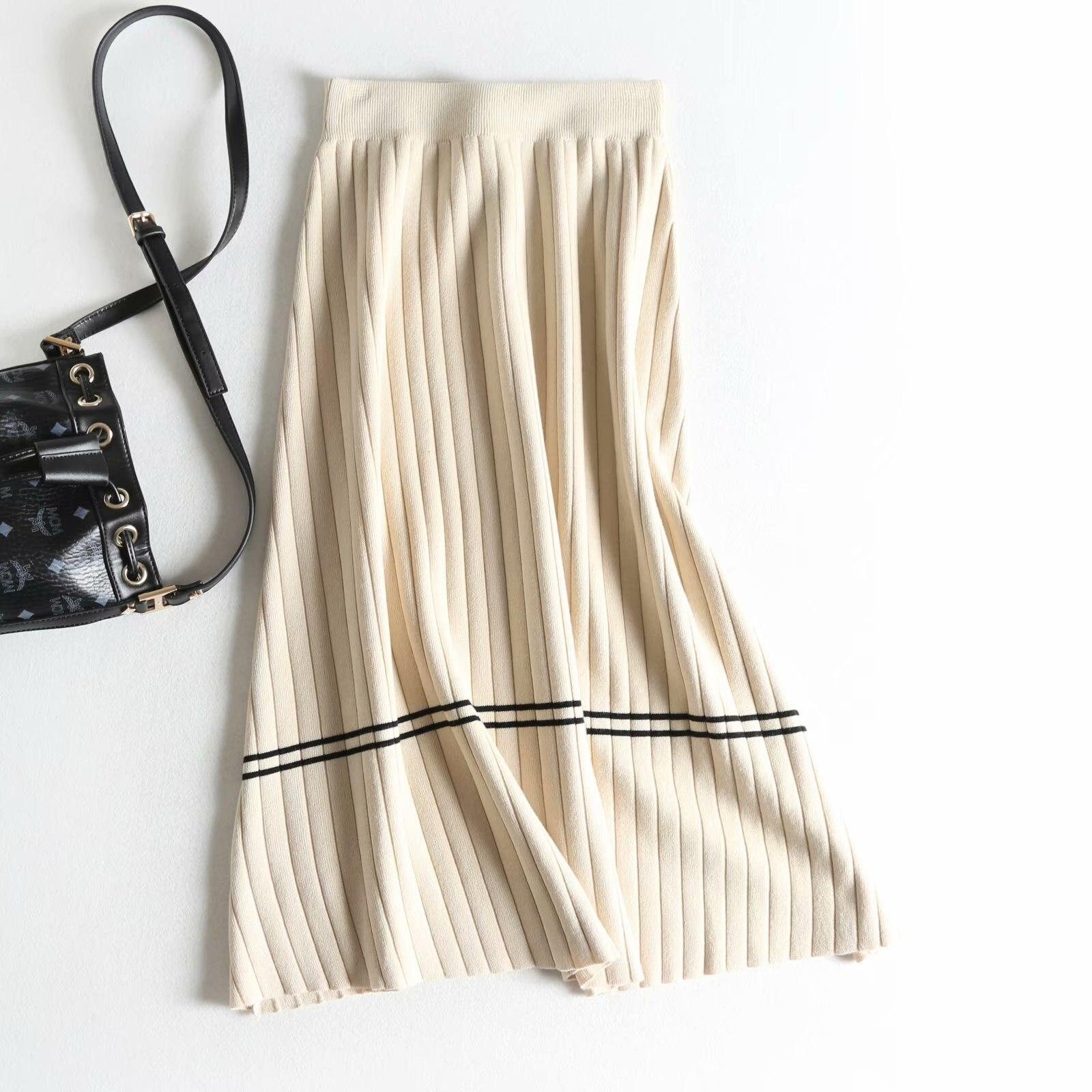 2019 High Waist Women Spring Skirts Vintage Knitting Women Long Skirt Faldas Jupe Femme Women Beige Black Skirt Saia 2