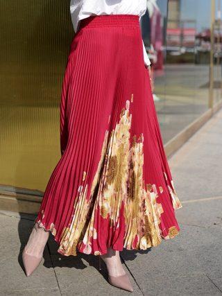 Lengthy Pleated Skirt Model Summer time Elastic Excessive Waist