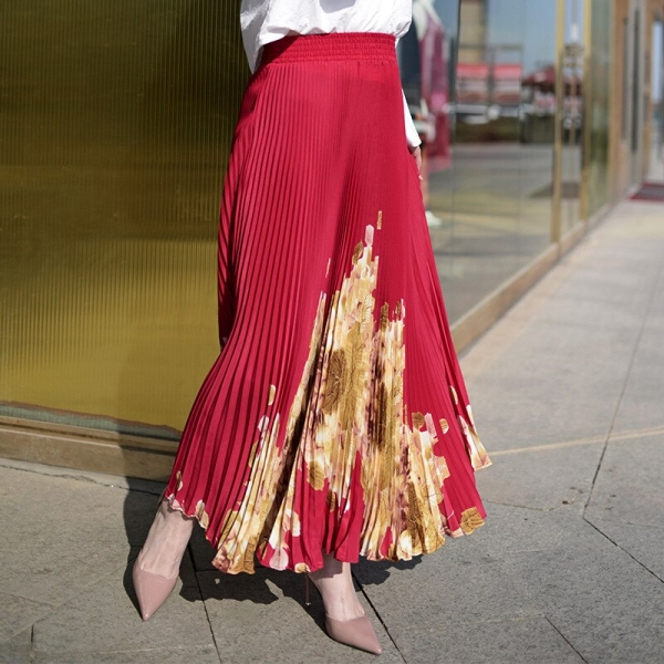 Lengthy Pleated Skirt Model Summer time Elastic Excessive Waist