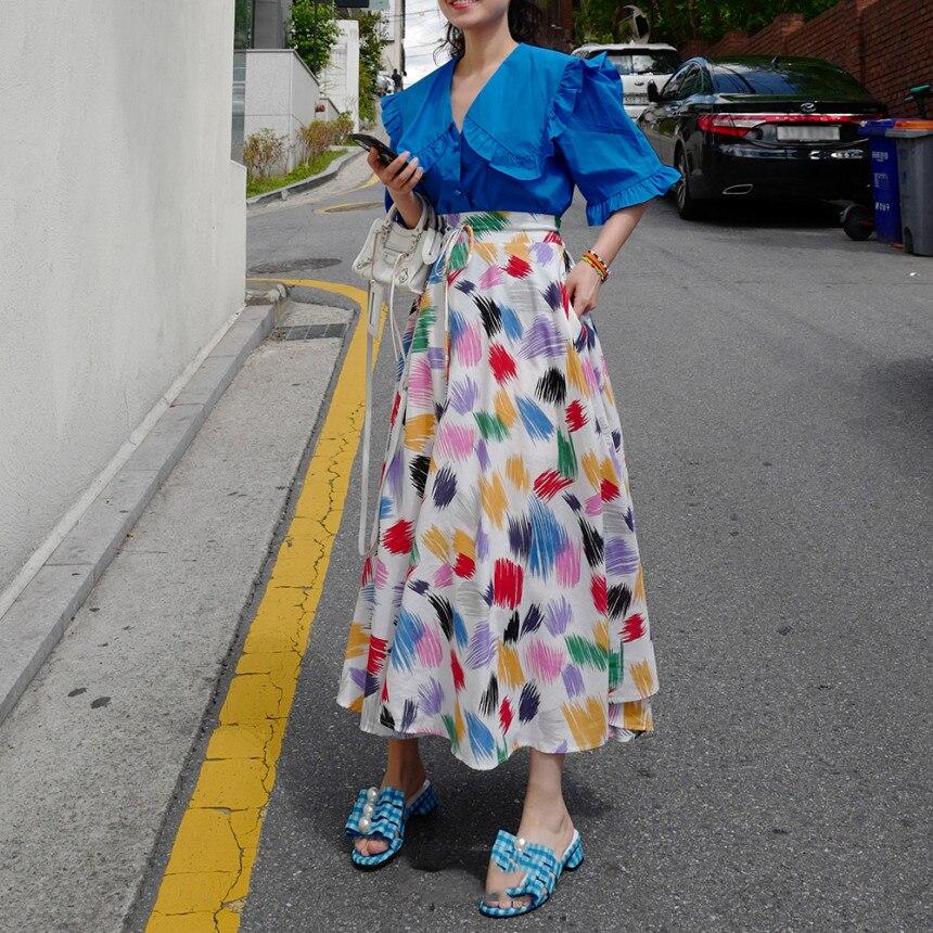 Colorful White Print Women Long Skirts New Korean Chic SummerLace-up High Waist Skirt Large Sewing Bohemian Beach Skirt 2020 2