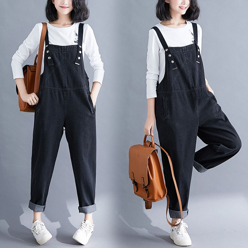 Spring Summer Women's Overalls Jeans New Large Size Black Denim Jumpsuit Loose Suspenders Jeans Casual Female Trousers Rompers