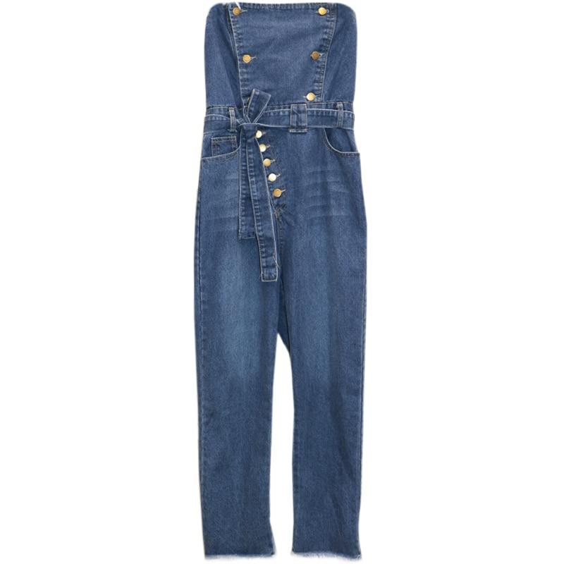 Off Shoulder Denim Jumpsuits Overalls Women Jeans Playsuit Strapless Pencil Pants Romper 2