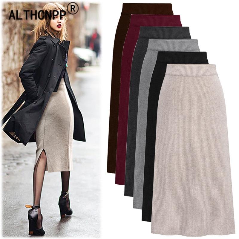 Plus Size M-6XL Winter Knitted Bodycon Pencil Skirt High Waist Skirts Womens Streetwear Split Long Skirt Female Faldas Mujer